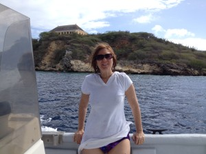 Diane on snorkeling boat